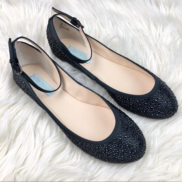 2e2dc6b945ae Betsey Johnson Shoes - Betsey Johnson Black Joy Jeweled Ballet Flats